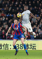 Football - 2017 / 2018 Premier League - Crystal Palace vs. Manchester United<br /> <br /> Paul Pogba (Manchester United) rises high and uses his chest to bring the ball under control at Selhurst Park.<br /> <br /> COLORSPORT/DANIEL BEARHAM