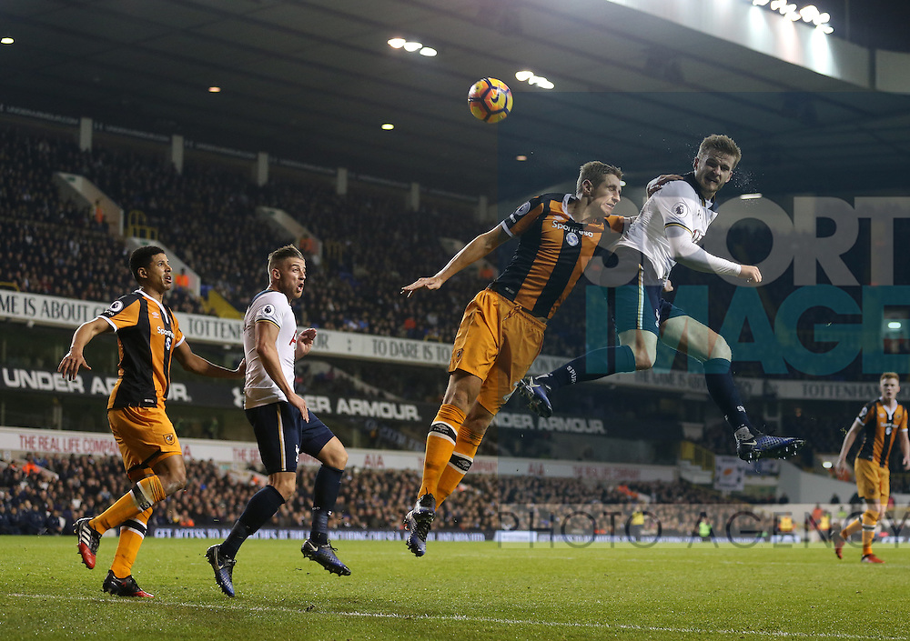 Tottenham's Eric Dier tussles with Hull's Michael Dawson during the Premier League match at White Hart Lane Stadium, London. Picture date December 14th, 2016 Pic David Klein/Sportimage
