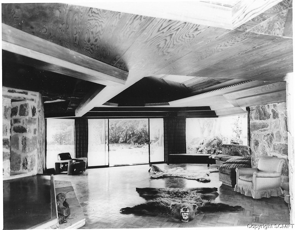 1960s Interior of pool house, designed by Frank Wright, located in Runyon Canyon, was owned by Huntington Hartford.