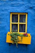 Blue wall, yellow window, in the coastal town of Kinsale, Cork, Ireland