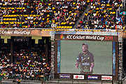 Captain Shahid Afridi on the large screens in Premadasa stadium during their group stage match  against Australia, in the 2011 World Cricket Cup ,  Colombo, Sri Lanka