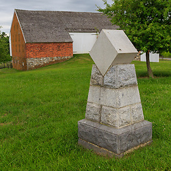 Gettysburg, PA, USA - June 20, 2018: The General Daniel Sickles marker, showing where he was wounded on the battlefield on the second day of fighting.