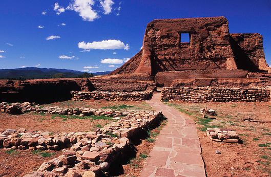 Ruins of Mission Church and Peublo in Pecos National Historic Park