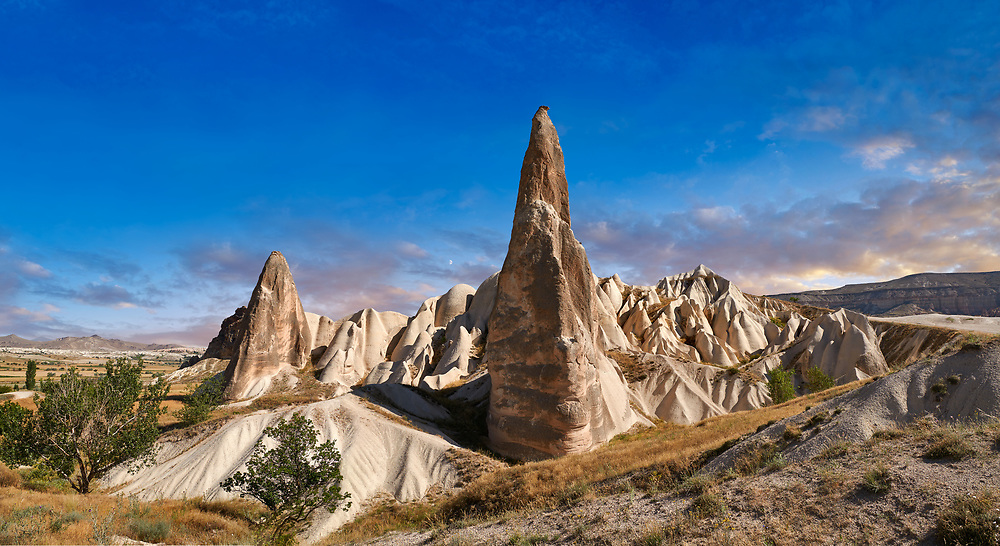 Pictures & images of the fairy chimney pillar rock formations  near Goreme, Cappadocia, Nevsehir, Turkey .<br /> <br /> If you prefer to buy from our ALAMY PHOTO LIBRARY  Collection visit : https://www.alamy.com/portfolio/paul-williams-funkystock/cappadociaturkey.html (TIP refine search - type which part of Cappadocia into the LOWER search box)<br /> <br /> Visit our TURKEY PHOTO COLLECTIONS for more photos to download or buy as wall art prints https://funkystock.photoshelter.com/gallery-collection/3f-Pictures-of-Turkey-Turkey-Photos-Images-Fotos/C0000U.hJWkZxAbg