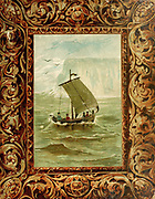 Colourful front book cover with sail boat illustration From the book ' The viking Bodleys; an excursion into Norway and Denmark ' by Horace Elisha Scudder Published in Boston, by Houghton, Mifflin and Company in 1885 from the BODLEY FAMILY series of books