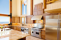 This kitchen is in a cabin - more of a rustic mansion really - designed to cater to the needs of 20-30 people with style. There were actually two fridges like the one in this shot.