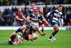 Bristol Rugby's James Merriman and Bristol Rugby's Jack Tovey tackle Ulster Ravens' Michael Allen  - Photo mandatory by-line: Dougie Allward/JMP  - Tel: Mobile:07966 386802 21/10/2012 - SPORT - Rugby Union - British and Irish Cup -  Bristol  - The Memorial Stadium - Bristol Rugby V Ulster Ravens