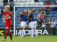 Photo: Paul Greenwood.<br />Stockport County v Cardiff City. Coca Cola Championship. Pre Season Friendly. 28/07/2007.<br />Stockport's Anthony Pilkington (C) is congratulated by team mates