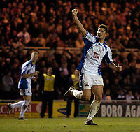 Photo: Jed Wee.<br /> Middlesbrough v Nuneaton Borough. The FA Cup. 17/01/2006.<br /> <br /> Nuneaton's Gez Murphy celebrates after scoring a consolation goal.