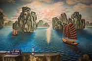 Wall mural in An Lac Hotel of Halong Bay, Muong Khen, Vietnam, Southeast Asia