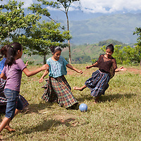 Q'eqchi girls playing football in Concepción Actelá, Alta Verapaz. Under Informed Consent rules, the parents of these children would have to be tracked down to give their consent for this photo to be taken or used.