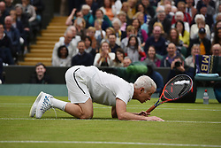 © Licensed to London News Pictures. 19/05/2019. London, UK. Tennis player John McEnroe take part in an exhibition match at the Wimbledon No.1 Court Celebration event. The event marks the unveiling of a retractable roof and extended seating capacity at a cost of £70 million. Photo credit: Ray Tang/LNP
