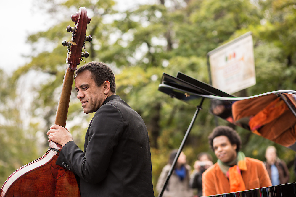 ELEW's bassist takes a pause at the Jazz and Colors festival in Central Park.