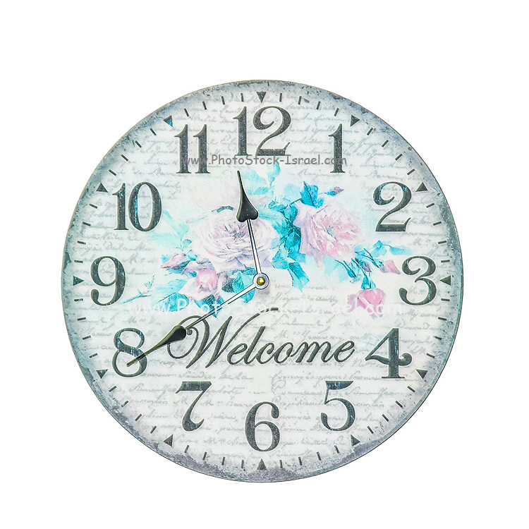 Large, Welcome wall clock on white background