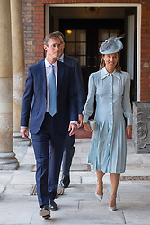 Pippa Middleton and her husband James Matthews arriving for the christening of Prince Louis, the youngest son of the Duke and Duchess of Cambridge at the Chapel Royal, St James's Palace, London.