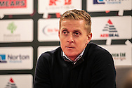 Gary Monk (Manager) (Leeds United) talks to the press in after the EFL Sky Bet Championship match between Rotherham United and Leeds United at the New York Stadium, Rotherham, England on 26 November 2016. Photo by Mark P Doherty.