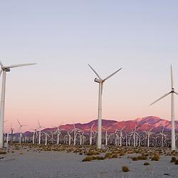 A wind farm in the San Gorgonio Mountain Pass in Palm Springs California USA