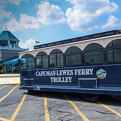 Lewes, DE / USA - June 24, 2013: A trolley bus at the Cape May - Lewes Ferry terminal in Lewes, and constitutes a portion of U.S. Route 9