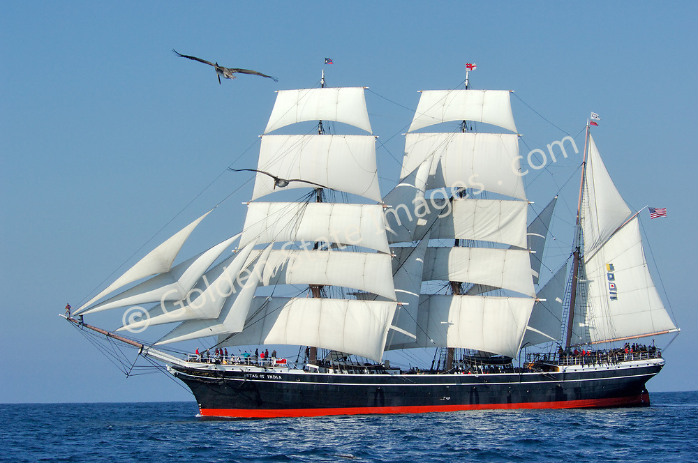 The Star of India under sail off Point Loma.<br /> <br /> The worlds oldest active ship originally commisioned in 1863. At the time she was considered state of the art incorporating both iron and wood construction.