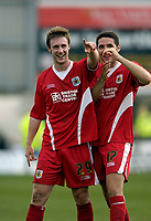 Photo: Jed Wee.<br />Hartlepool United v Bristol City. Coca Cola League 1. 15/04/2006.<br /><br />Bristol City's Bradley Orr (R) and David Noble, who scored the first goal, celebrate with the fans at the end of the match.