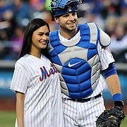 NEW YORK, NEW YORK - APRIL 27:  Miss Universe 2015 Pia Wurtzbach with catcher Kevin Plawecki #26 of the New York Mets after throwing out the ceremonial first pitch during the New York Mets Vs Cincinnati Reds MLB regular season game at Citi Field on April 27, 2016 in New York City. (Photo by Tim Clayton/Corbis via Getty Images)