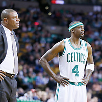 03 April 2013: Boston Celtics head coach Doc Rivers is seen next Boston Celtics shooting guard Jason Terry (4) during the Boston Celtics 98-93 victory over the Detroit Pistons at the TD Garden, Boston, Massachusetts, USA.