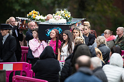 © Licensed to London News Pictures . 14/09/2018. Salford, UK. The funerals of Demi Pearson , Brandon Pearson , Lacie Pearson and Lia Pearson , at St Paul's Church in Walkden . Demi , Brandon , Lacie and Lia were aged 15 , eight , seven and three respectively when their home was set on fire as they slept . Zak Bolland and David Worrall were handed four life sentences for their murders . Photo credit: Joel Goodman/LNP