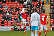 Panutche Camara and Liam Kinsella compete for the ball in the air during the EFL Sky Bet League 2 match between Walsall and Crawley Town at the Banks's Stadium, Walsall, England on 18 January 2020.