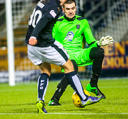 Fraserburgh's keeper Joe Barbour saves from Falkirk's Kevin O'Hara. Falkirk 4 v 1 Fraserburgh, Scottish Cup third round, played 28/11/2015 at The Falkirk Stadium.