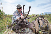 Heidi Anderson of Talkeetna, Alaska with her cow caribou taken during the 2019 subsistence hunt for Alaskan residents.