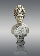 Roman marble sculpture bust of an unkown women, Late Trajan period 98-117 AD , inv 6074 Farnese Collection, Naples  Museum of Archaeology, Italy.<br /> <br /> If you prefer to buy from our ALAMY STOCK LIBRARY page at https://www.alamy.com/portfolio/paul-williams-funkystock/greco-roman-sculptures.html . Type -    Naples    - into LOWER SEARCH WITHIN GALLERY box - Refine search by adding a subject, place, background colour, etc.<br /> <br /> Visit our ROMAN WORLD PHOTO COLLECTIONS for more photos to download or buy as wall art prints https://funkystock.photoshelter.com/gallery-collection/The-Romans-Art-Artefacts-Antiquities-Historic-Sites-Pictures-Images/C0000r2uLJJo9_s0
