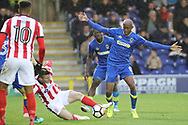 AFC Wimbledon midfielder Jimmy Abdou (8) battles for possession during the The FA Cup match between AFC Wimbledon and Lincoln City at the Cherry Red Records Stadium, Kingston, England on 4 November 2017. Photo by Matthew Redman.