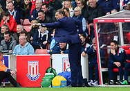 Steven Bilic , the manager of West Ham on the touchline.  Premier league match, Stoke City v West Ham Utd at the Bet365 Stadium in Stoke on Trent, Staffs on Saturday 29th April 2017.<br /> pic by Bradley Collyer, Andrew Orchard sports photography.