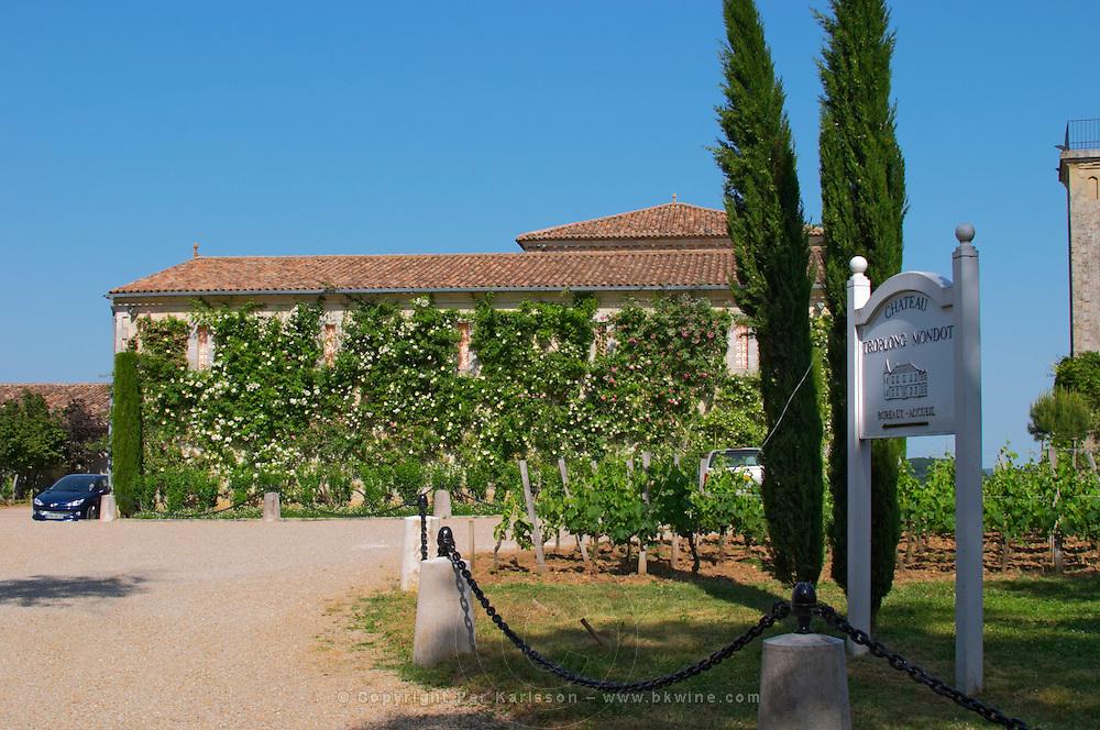 The winery and entrance to Chateau Troplong Mondot Saint Emilion Bordeaux Gironde Aquitaine France