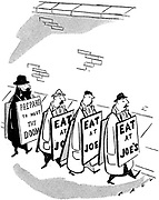 (Four sandwich board men: One 'Prepare to meet thy doom' and three 'Eat at Joe's')