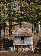 A thatched hut storehouse at the Ainu Museum, a living museum at Lake Poroto. The Ainu people are indigenous to Japan and Russia. Hokkaid?, Japan