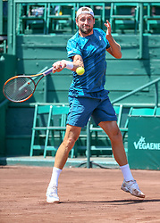 April 11, 2018 - Houston, TX, U.S. - HOUSTON, TX - APRIL 11:  Tennys Sandgren of the United States hits a forehand during the second round of the Men's Clay Court Championships on April 11, 2018 at River Oaks Country Club in Houston, Texas.  (Photo by Leslie Plaza Johnson/Icon Sportswire) (Credit Image: © Leslie Plaza Johnson/Icon SMI via ZUMA Press)
