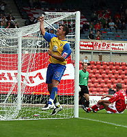 Photo: Mark Stephenson.<br /> Wrexham v Hereford United. Coca Cola League 2. 01/09/2007.Hereford's Kris Taylor celebrates his goal for 1-0