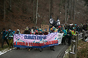 The first day of the Strike WEF march on Davos on 18th of January 2020 near Davos, Switzerland. The first day of the march started in Lanquart with speeches and hot food and ended in Schiers.  The protest is planned to finish in Davos with a public meeting in the town on the day the WEF begins. The march is a three day protest against the World Economic Forum meeting in Davos. The activists want climate justice and think that The WEF is for the worlds richest and political elite only.