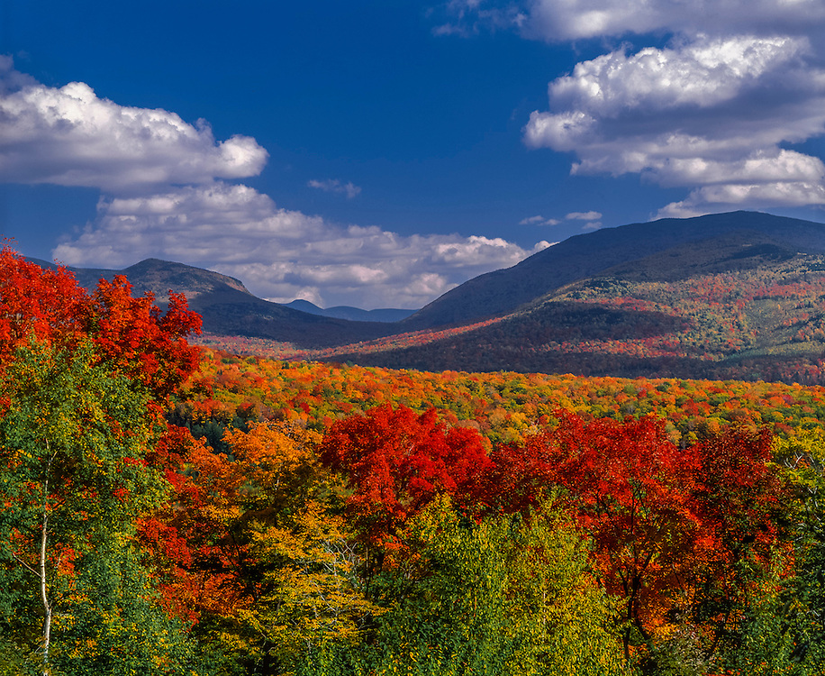 Fall foliage and views to mountains beyond,  Thornton Gap, White Mtn National Forest, Thornton, NH
