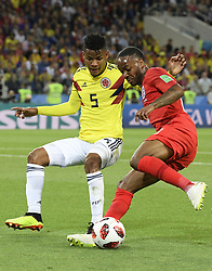 MOSCOW, July 3, 2018  Raheem Sterling (R) of England vies with Wilmar Barrios of Colombia during the 2018 FIFA World Cup round of 16 match between England and Colombia in Moscow, Russia, July 3, 2018. (Credit Image: © Lui Siu Wai/Xinhua via ZUMA Wire)