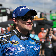 Driver Ricky Stenhouse Jr. is seen in the garage area during the last practice session for the 57th Annual NASCAR Daytona 500 race at Daytona International Speedway on Saturday, February 21, 2015 in Daytona Beach, Florida.  (AP Photo/Alex Menendez)