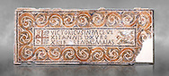 """Fifth century Eastern Roman Byzantine  Christian funerary mosaic dedicated to Leontia.  The Constantinian monogram depicting the Christian Chi-Rho symbol used by the Roman emperor Constantine I as part of his military standard (vexillum).  The inscription in the cartouche reads """" Leontia in peace and harmony with God, entered into eternal life on the Sixth Ides of October"""". Two birds and cut Roses occupy the rest of the mosaic. <br /> <br /> Excavated from Demna Parish Church ruins between the 4th and 5th columns of the right aisle. The Bardo National Museum, Tunis, Tunisia. Against a grey art background."""