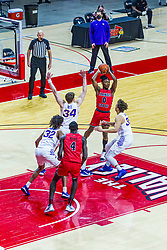NORMAL, IL - February 27: DJ Horne passes off the ball to avoid a double team by James Betz and Drew Daniel during a college basketball game between the ISU Redbirds and the Northern Iowa Panthers on February 27 2021 at Redbird Arena in Normal, IL. (Photo by Alan Look)