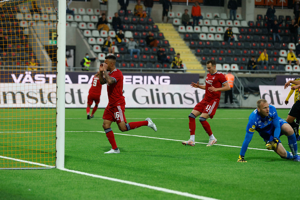 GOTHENBURG, SWEDEN - JULY 29: Funso Ojo misses a great chance during the UEFA Europa Conference League Qualifying match 2nd leg between BK Hacken and Aberdeen FC at Bravida Arena on July 29, 2021 in Gothenburg, Sweden.<br /> (Photo by Derek Ironside/Newsline Media)