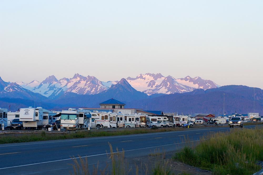Homer, Alaska. Homer Spit beachfront camping with the Kenai Mountains and Kachemak Bay surrounding.