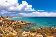 Chrisi Akti, Paros, Greece - July 2021: Paralia Nea beach