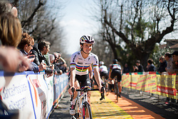 Lizzie Armitstead (Boels-Dolmans Cycling Team) smiles as she rolls to the sign-on of the Trofeo Alfredo Binda - a 123.3km road race from Gavirate to Cittiglio on March 20, 2016 in Varese, Italy.