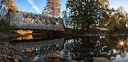 USA, Oregon, Larwood Wayside, the Larwood Bridge in the midst of restoration work, digital composite, panorama.