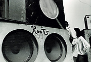 Bank of speakers. Sound System Photo by Richard Saunders 1983